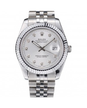 Rolex DateJust Stainless Steel Ribbed Bezel Silver Dial 41977