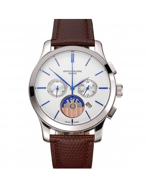 Patek Philippe Chronograph White Dial Blue Hands Stainless Steel Case Brown Leather Strap