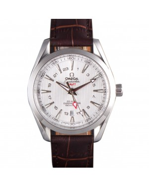 Omega Seamaster Silver Bezel with White Dial and Brown Leather Band 621573