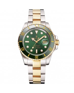 Swiss Rolex Submariner Green Dial And Bezel Two Tone Steel Gold Bracelet
