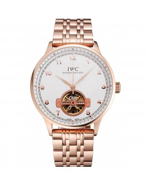 IWC Portugieser Tourbillon White Dial Rose Gold Numerals Rose Gold Case And Bracelet