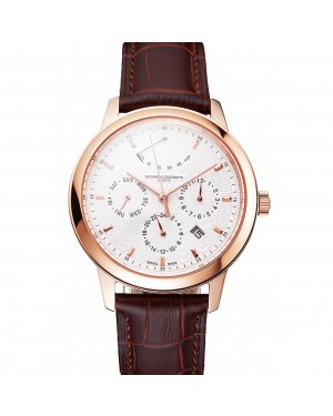 Swiss Vacheron Constantin Traditionnelle Power Reserve White Dial Rose Gold Case Brown Leather Strap