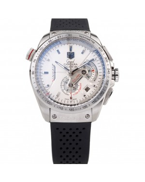 Tag Heuer Swiss Carrera Tachymeter Bezel Perforated Black Rubber Strap White Dial