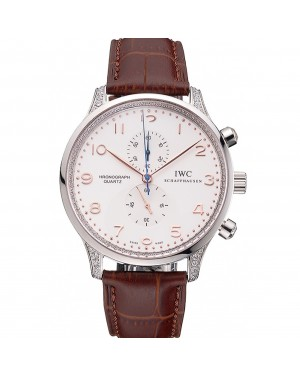 IWC Portugieser Chronograph White Dial Rose Gold Hands And Numerals Steel Case With Diamonds Brown Leather Strap