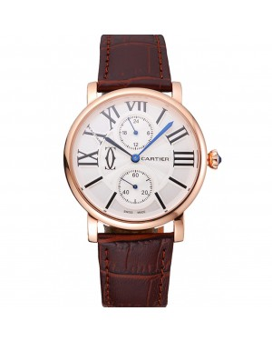 Cartier Ronde Second Time Zone White Dial Gold Case Brown Leather Strap 622801