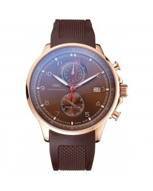 IWC Portugieser Yacht Club Brown Dial Rose Gold Case Brown Rubber Strap