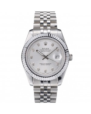 Rolex Swiss DateJust Stainless Steel Ribbed Bezel Silver Dial 41996
