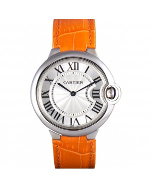 Cartier Ballon Bleu Silver Bezel with White Dial and Orange Leather Band 621550