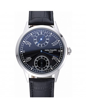 Patek Philippe Geneve Two Dial Black Dial Stainless Steel Bezel Black Leather Band 622145