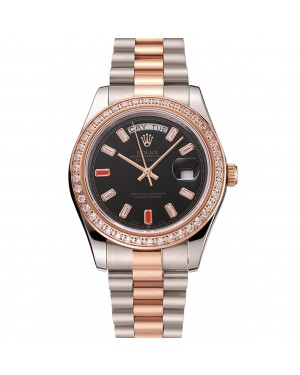 Swiss Rolex Day-Date Diamonds And Rubies Black Dial Rose Gold And Staineless Steel Bracelet 1454106
