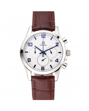 Omega Chronograph White Dial Blue Numerals Stainless Steel Case Brown Leather Strap