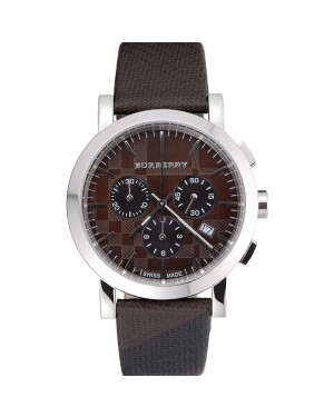 Burberry The City Classic Chronograph Brown Dial Smoked Trench Bracelet 622571