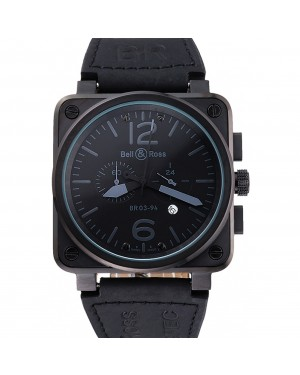 Bell and Ross BR 03-94 Black Dial White Numerals Silver Case Brown Leather Strap