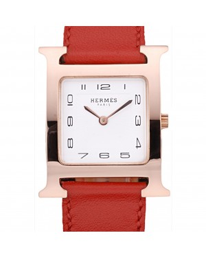 Hermes Heure H Rose Gold Bezel Red Leather Strap White Dial 80233