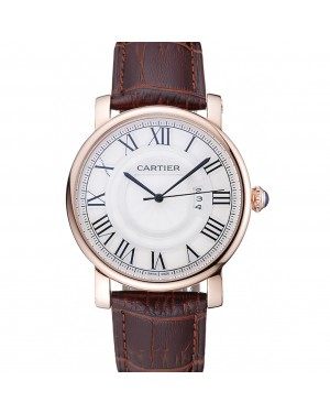 Cartier Rotonde White Dial Gold Case Brown Leather Bracelet 1454221