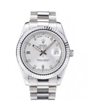 Rolex Day-Date Polished Stainless Steel Silver Dial