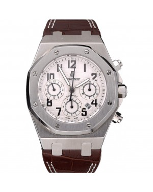 Swiss Audemars Piguet Royal Oak Chronograph White Dial Stainless Steel Case Brown Leather Strap 622864
