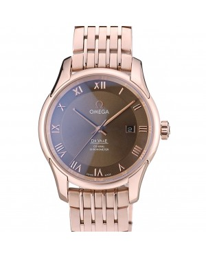 Omega Swiss DeVille Rose Gold Bezel Roman Numbers Brown Dial 7610