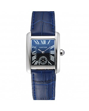 Cartier Tank MC Stainless Steel Case Blue Dial Blue Leather Strap 622178