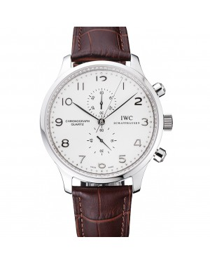 IWC Portugieser Chronograph White Dial Steel Hands And Numerals Stainless Steel Case Brown Leather Strap