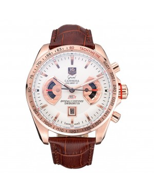 Tag Heuer Carrera Rose Gold Case White Dial Brown Leather Strap 98245