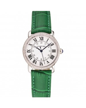 Cartier Ronde White Dial Diamond Bezel Stainless Steel Case Green Leather Strap