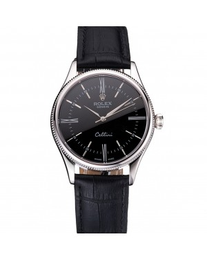 Swiss Rolex Cellini Black Dial Roman Numerals Stainless Steel Case Black Leather Strap
