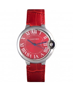 Cartier Ballon Bleu Silver Bezel with Red Dial and Red Leather Band 621556