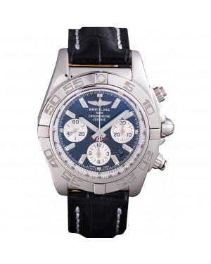 Swiss Breitling Chronomat Black Dial with Black Leather Band 621520