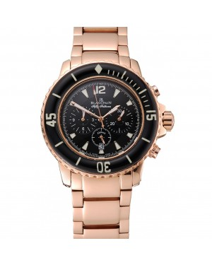 Blancpain Fifty Fathoms Flyback Chronograph Black Dial Rose Gold Case And Bracelet 1453772