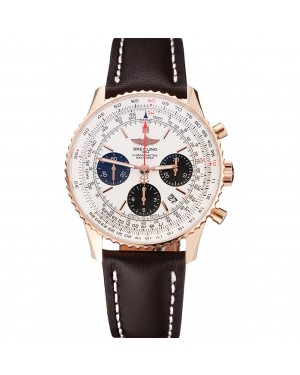 Swiss Breitling Navitimer 01 White Dial Black Subdials Rose Gold Case Brown Leather Strap