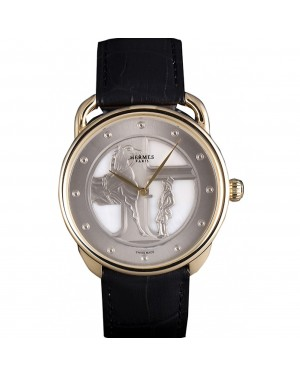 Hermes Classic Croco Leather Strap Silver Dial 801401