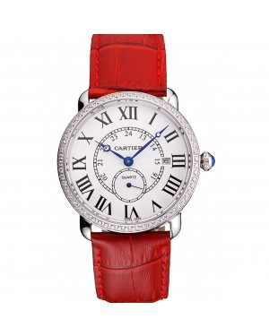 Cartier Ronde Louis Cartier White Dial Stainless Steel Case Diamond Bezel Red Leather Strap