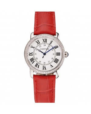 Cartier Ronde White Dial Diamond Bezel Stainless Steel Case Red Leather Strap