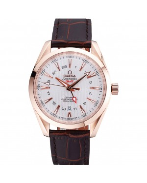 Omega Seamaster Planet Ocean GMT White Dial Rose Gold Case Brown Leather Band 622400