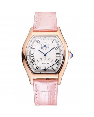 Cartier Tortue Perpetual Calendar White Dial Gold Case Pink Leather Strap