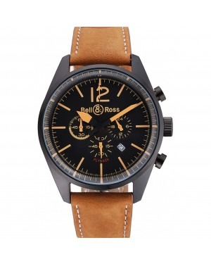 Bell and Ross BR126 Flyback Black Dial Black Case Gold Numerals Brown Suede Leather Strap