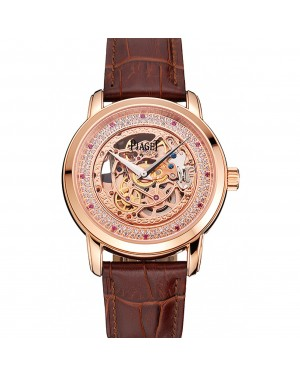 Swiss Piaget Altiplano Rose Gold Skeleton Dial With Diamonds Rose Gold Case Brown Leather Strap