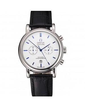 Omega Seamaster Vintage Chronograph White Dial Blue Hour Marks Stainless Steel Case Black Leather Strap