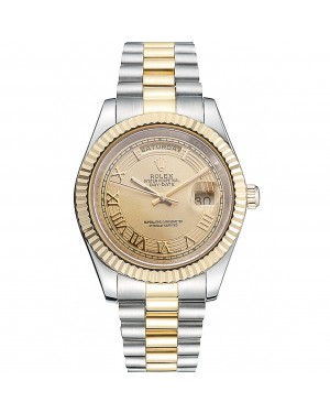 Rolex Day-Date Two Tone Stainless Steel 18k Gold Plated Gold Dial