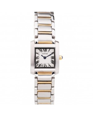 Cartier Tank Francaise 22mm White Dial Stainless Steel Case Two Tone Bracelet