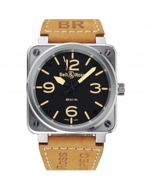 Bell and Ross BR 01-92 Black Dial Silver Case Gold Numerals Brown Leather Strap