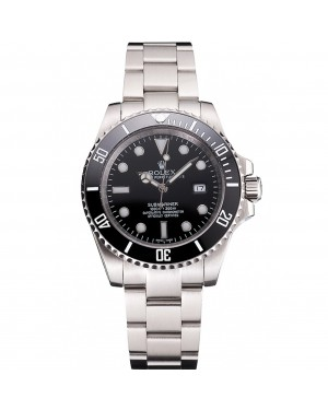 Swiss Rolex Submariner Small Date Black Dial And Bezel Stainless Steel Case And Bracelet