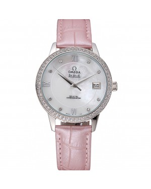 Omega DeVille Prestige Co-Axial Diamond Silver Case Mother-Of-Pearl Dial Pink Leather Strap