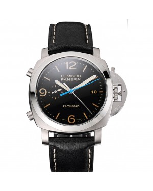 Swiss Panerai Luminor Flyback Chronograph Black Dial Stainless Steel Case Black Leather Strap