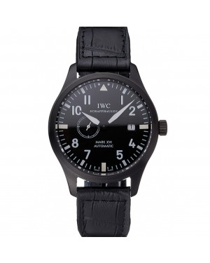 IWC Mark XVll Black Dial Black Stainless Steel Case Black Leather Strap
