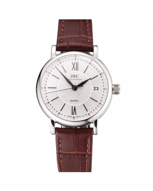 IWC Portofino Silver Dial Stainless Steel Case Brown Leather Strap