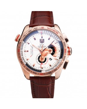 Tag Heuer Carrera Rose Gold Case White Dial Brown Leather Strap 98244