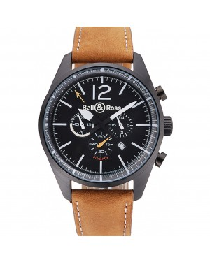 Bell and Ross BR126 Flyback Black Dial Black Case Brown Suede Leather Strap