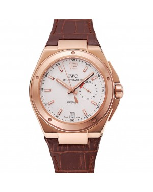 Swiss IWC Big Ingenieur 7-Day Power Reserve White Dial Rose Gold Case Brown Leather Bracelet 1453922